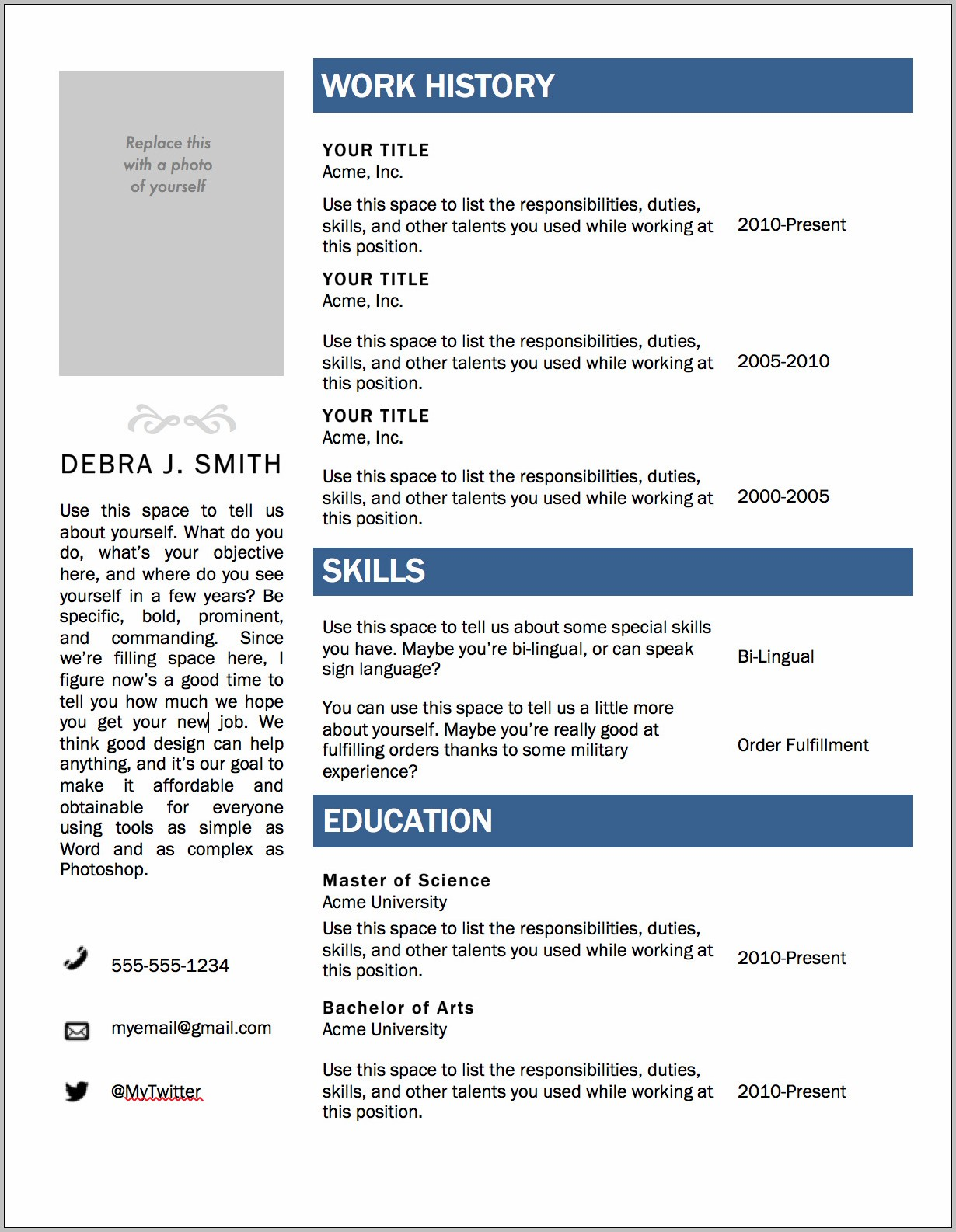 Free Resume Template 2015 Word