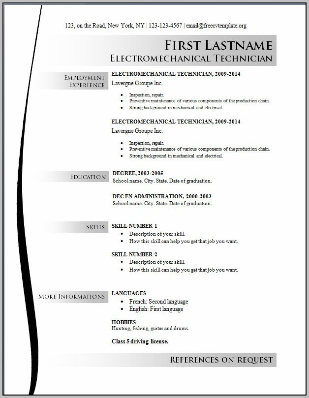 Free Resume Template Download 2014