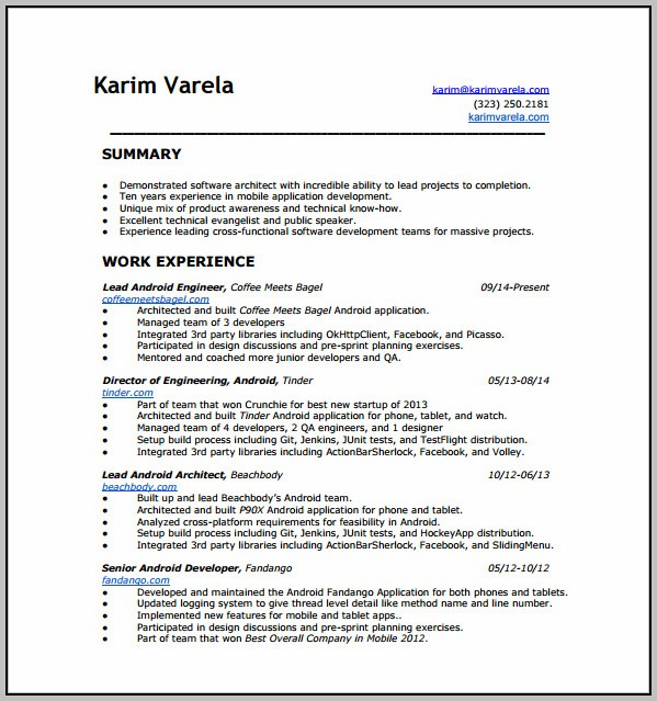 Free Resume Template Download For Android