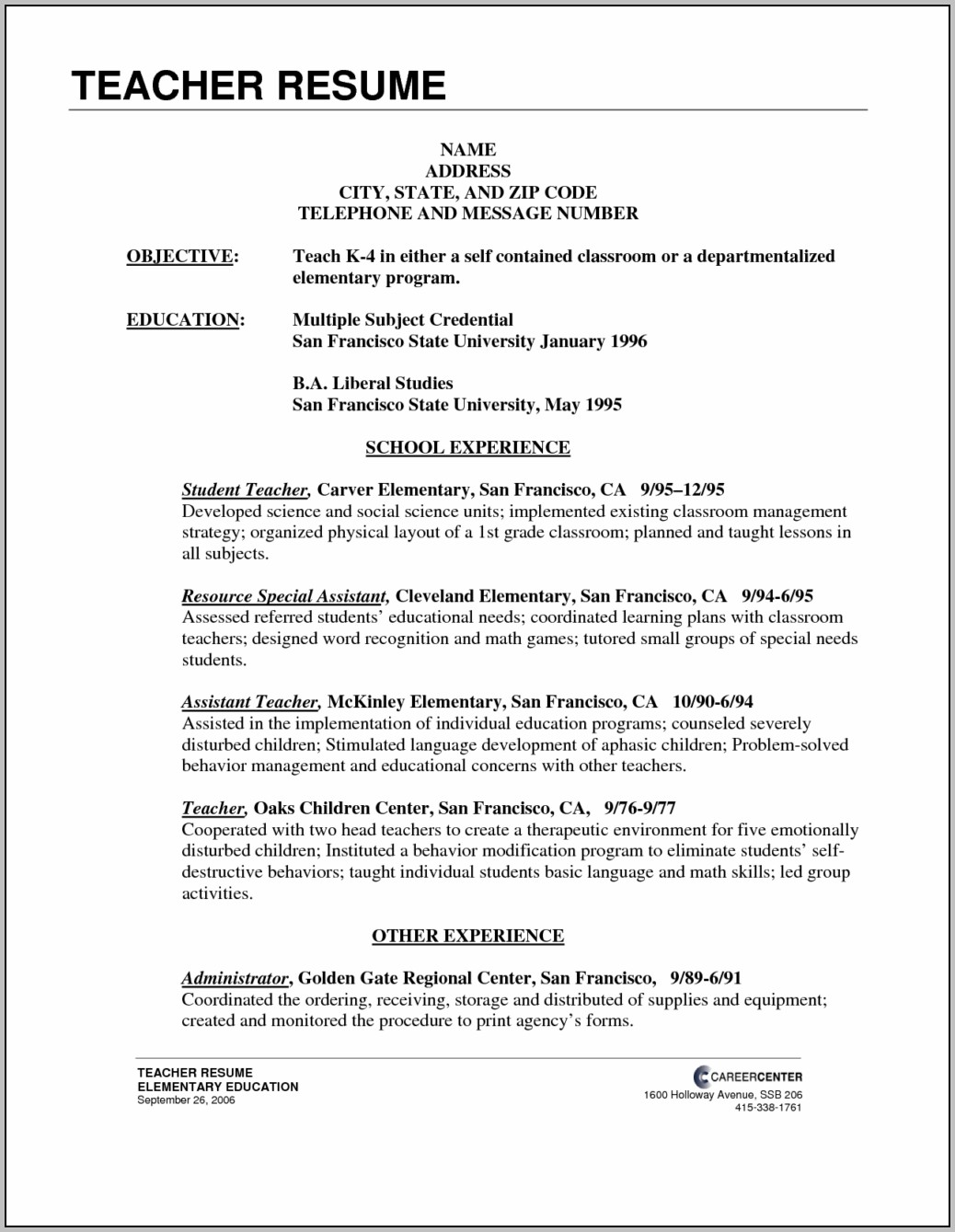 Free Resume Template For Teaching Position