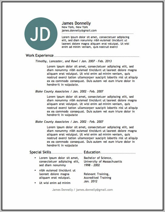 Free Resume Template No Download