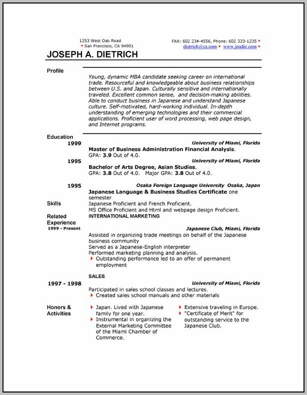 Free Resume Template To Download In Word