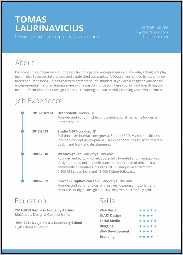 Free Creative Resume Templates For Mac Free Contemporary Resume Intended For Microsoft Word Free Resume Templates