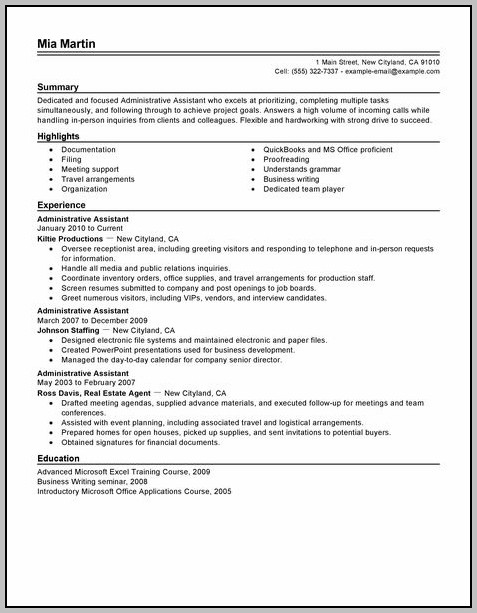 Free Sample Resume For Administrative Assistant Position