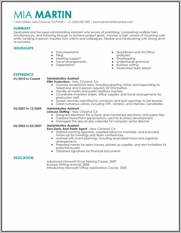 Free Sample Resume For Executive Assistant