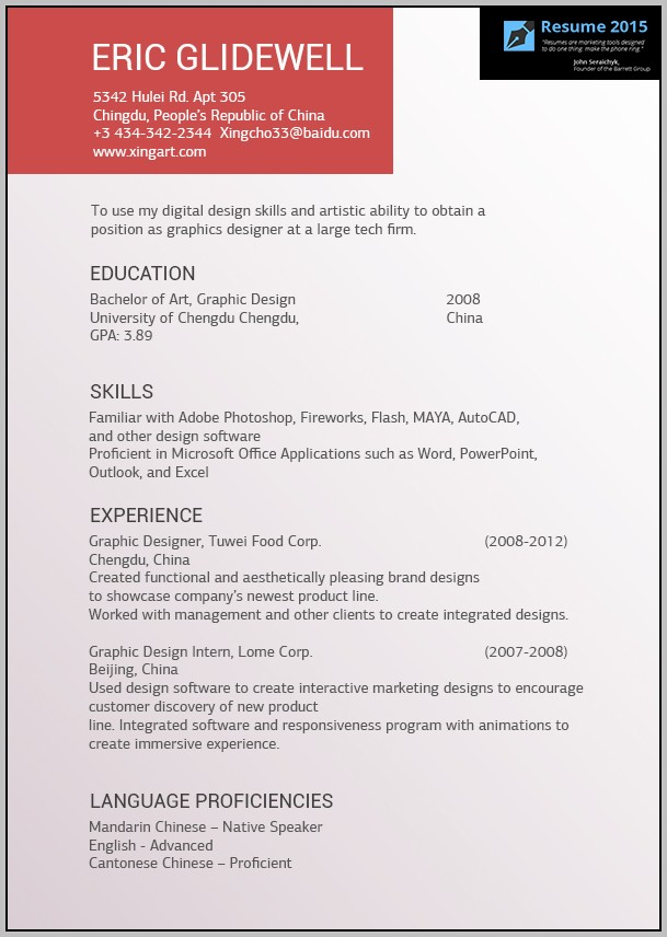 Free Sample Resume Templates 2015