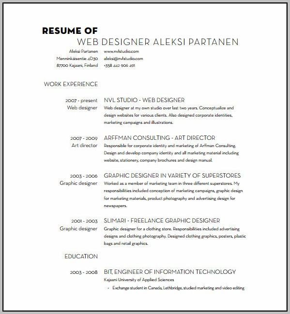 Graphic Designer Resume In Word Format Free Download
