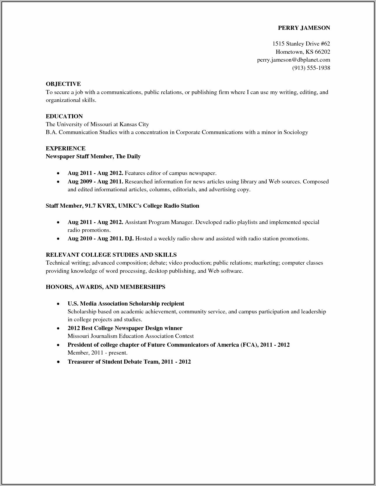 High School Resume Samples 2012