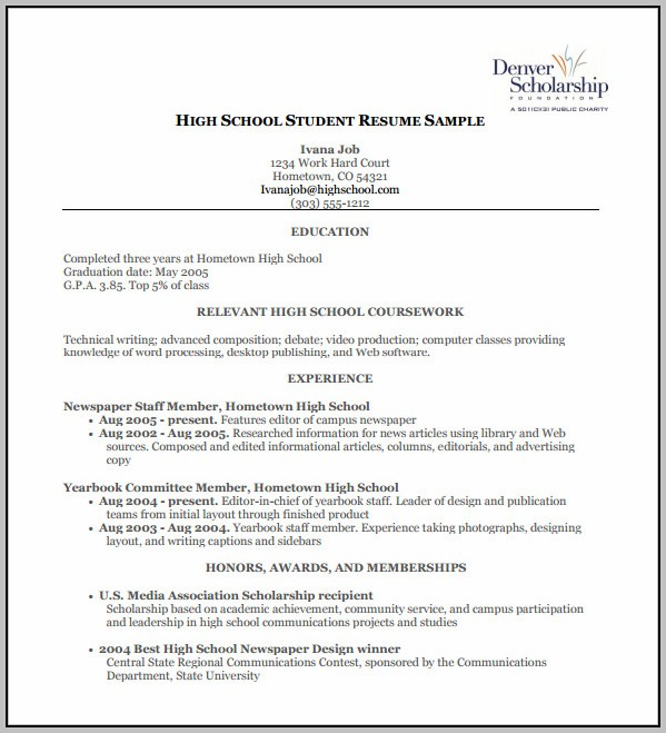 High School Resume Template For College Download