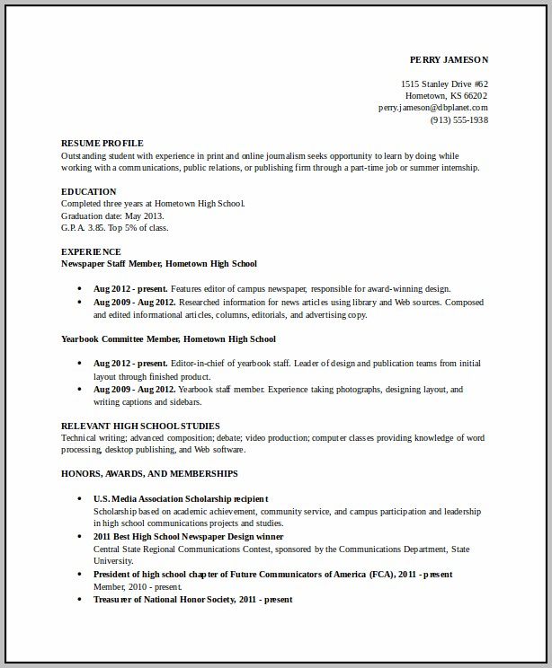 High School Resume Templates College