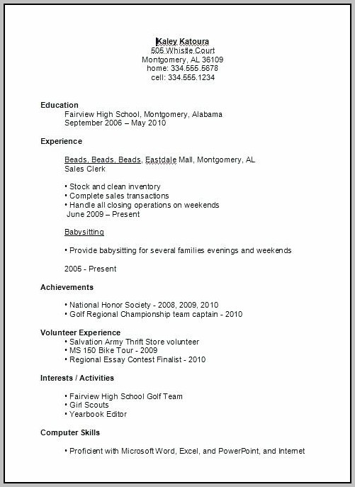 High School Resume Templates For Microsoft Word