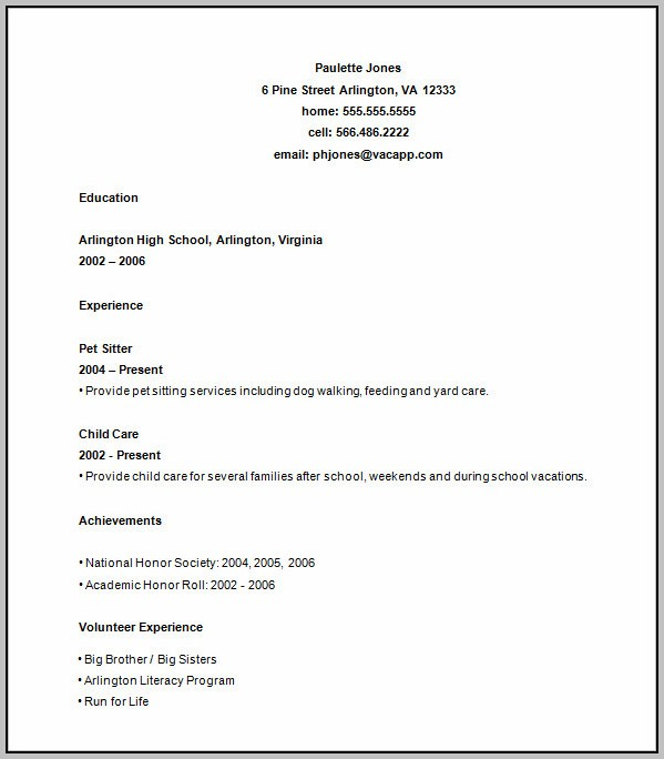 High School Resume Templates Word