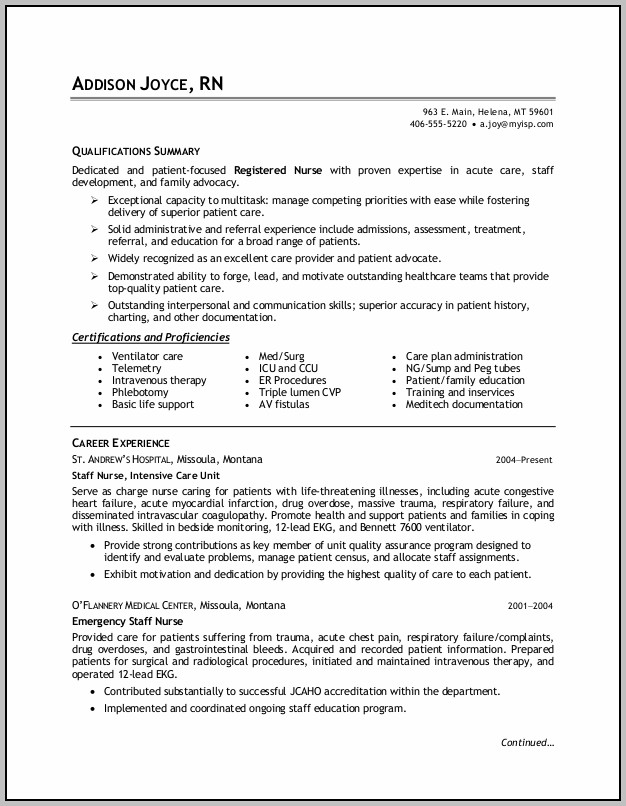 How To Write A Resume For Rn Position