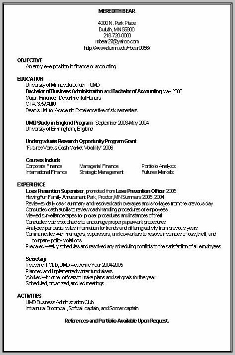 Job Resume For Accountant