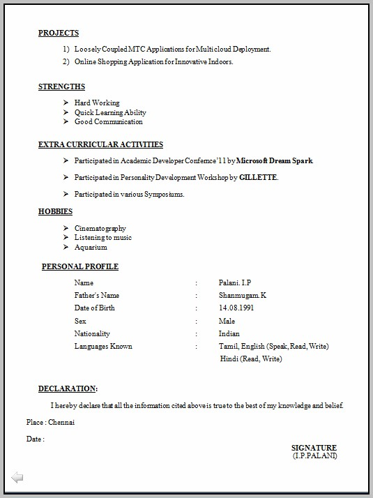 Latest Resume Format Free Download Pdf