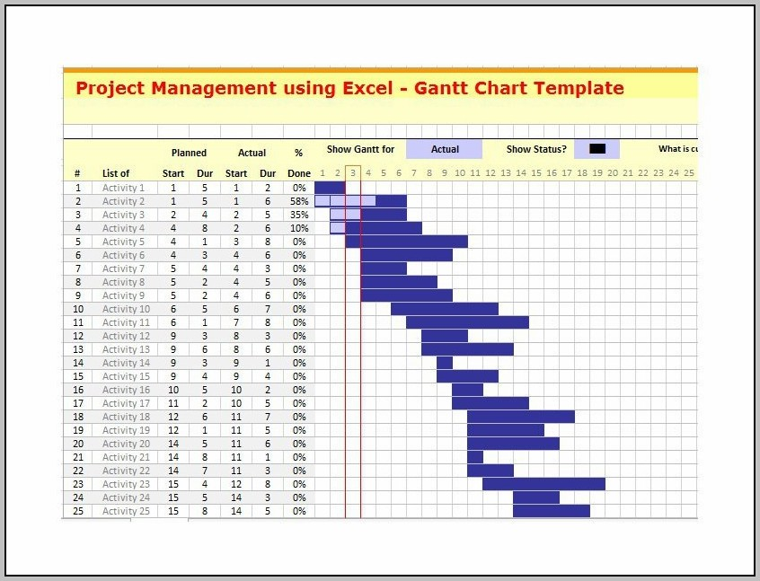 Microsoft Excel Gantt Chart Template Download Free