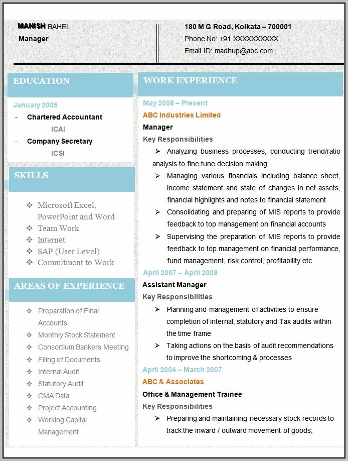 New Resume Format For Accountant