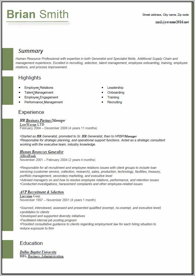 New Resume Format For Download