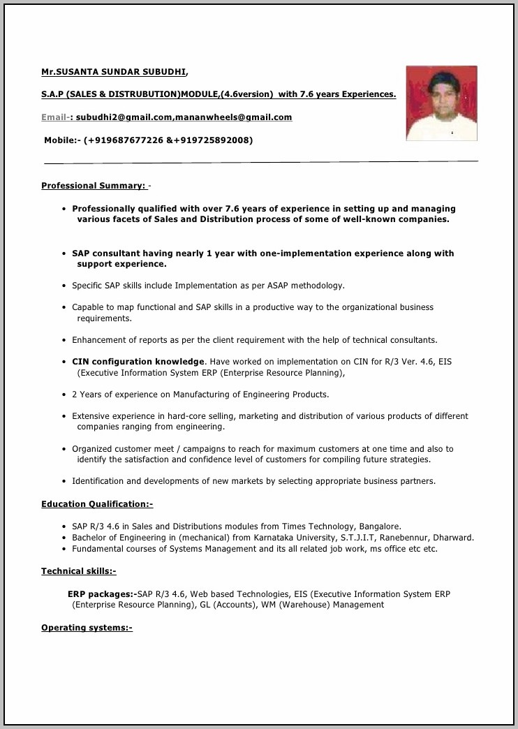 New Resume Format For Experience