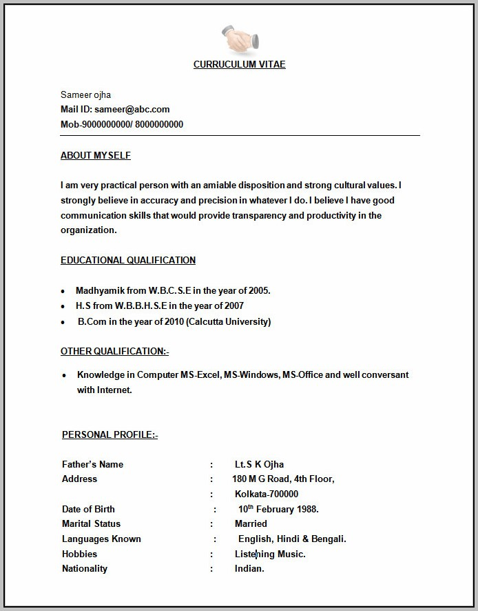 New Resume Format For Freshers 2015 Free Download