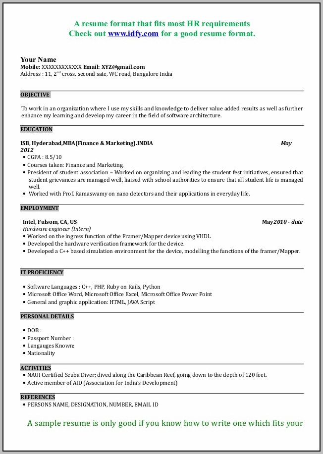 New Resume Format For Mba Finance Freshers