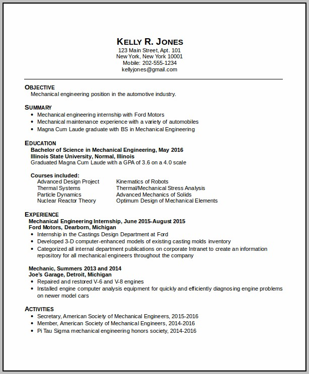 New Resume Format For Mechanical Engineers
