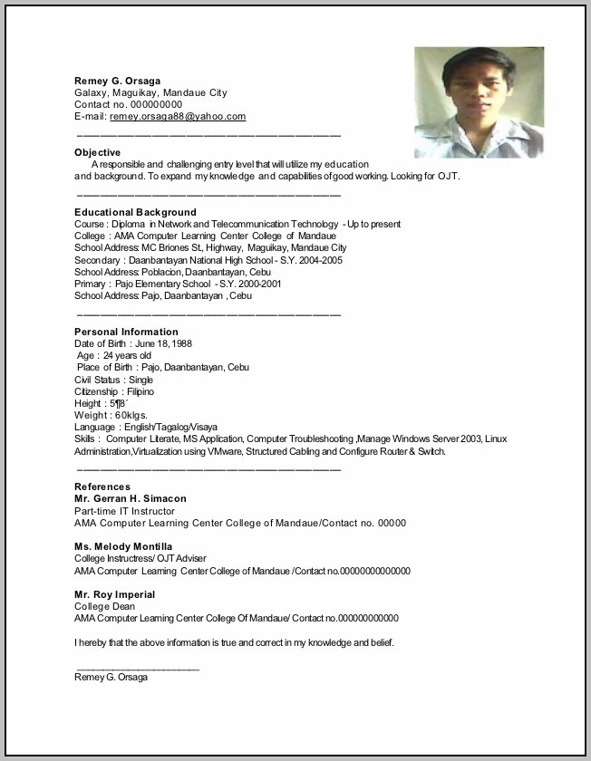New Resume Format For Ojt