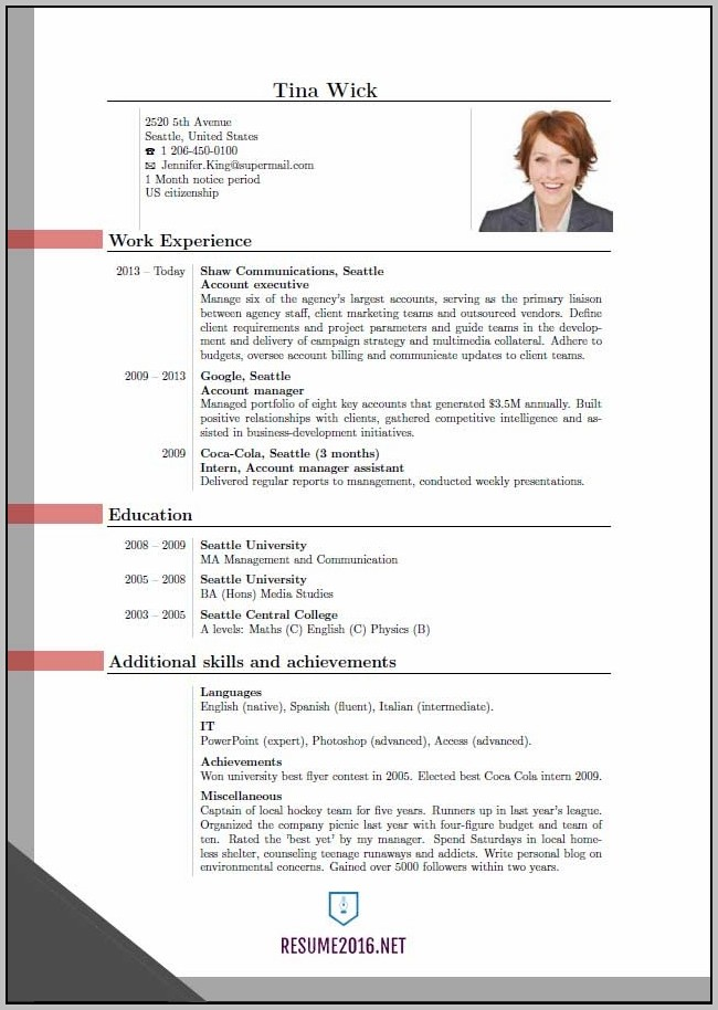 New Resume Format In Pdf