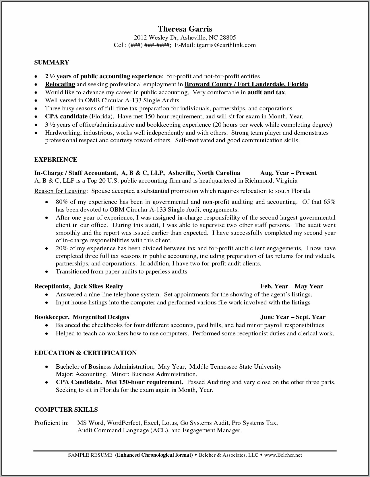 Professional Resume Senior Accountant