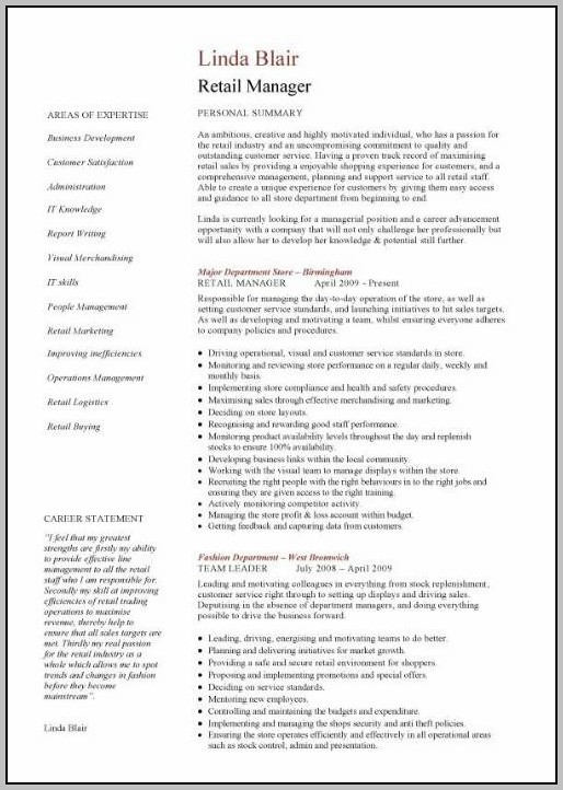 Resume Examples For Retail Jobs