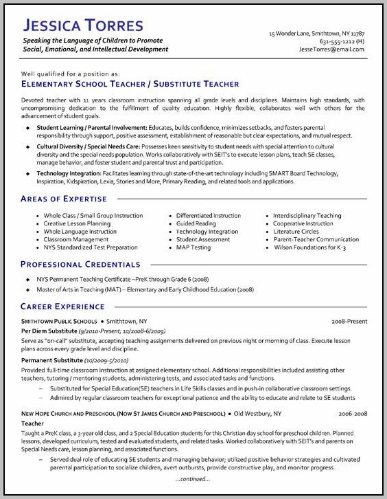 Resume For A Teacher Template