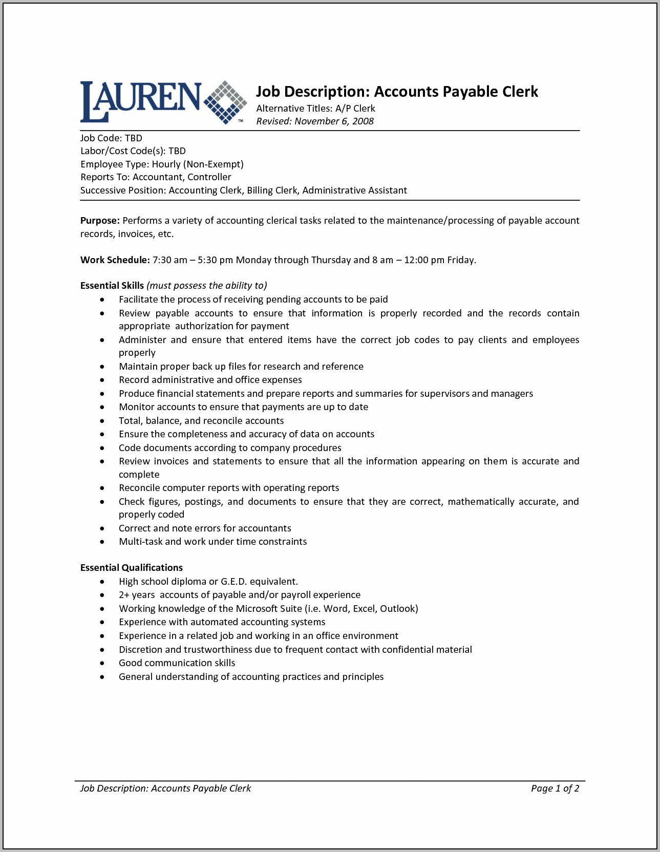 Resume For Accounting Clerk Position