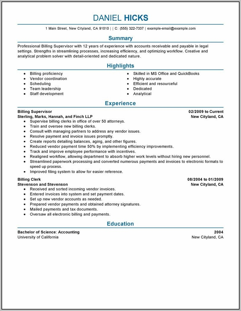 Resume For Accounting Clerk With No Experience