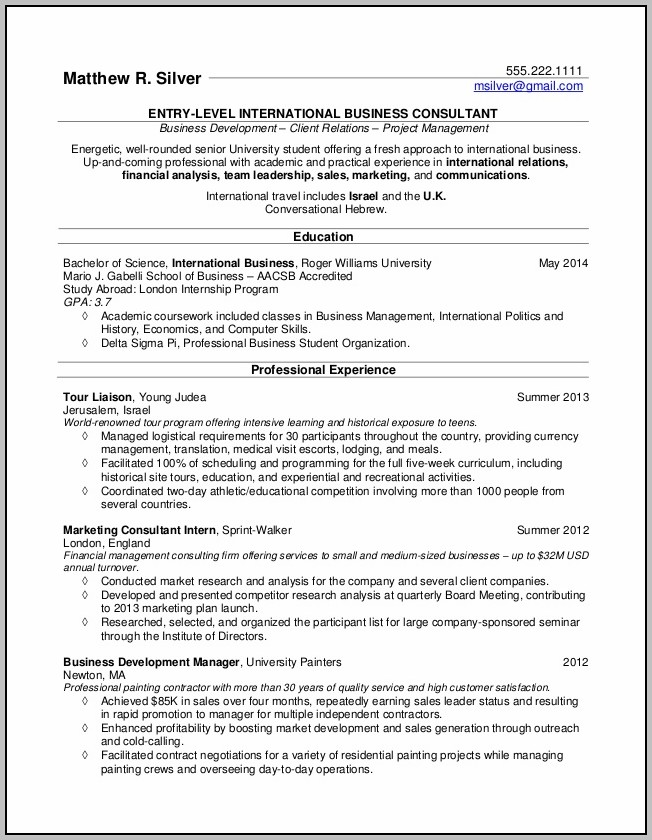 Resume For Accounting College Graduate