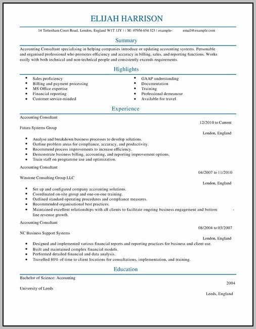 Resume For Accounting Consultant