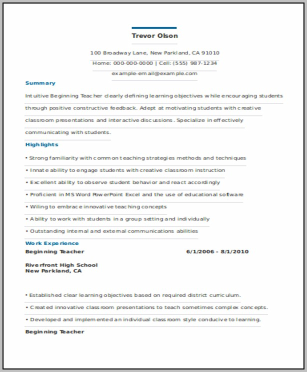 Resume For Graduate Teacher Template