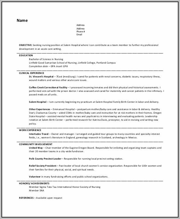 Resume For Nursing Job Pdf