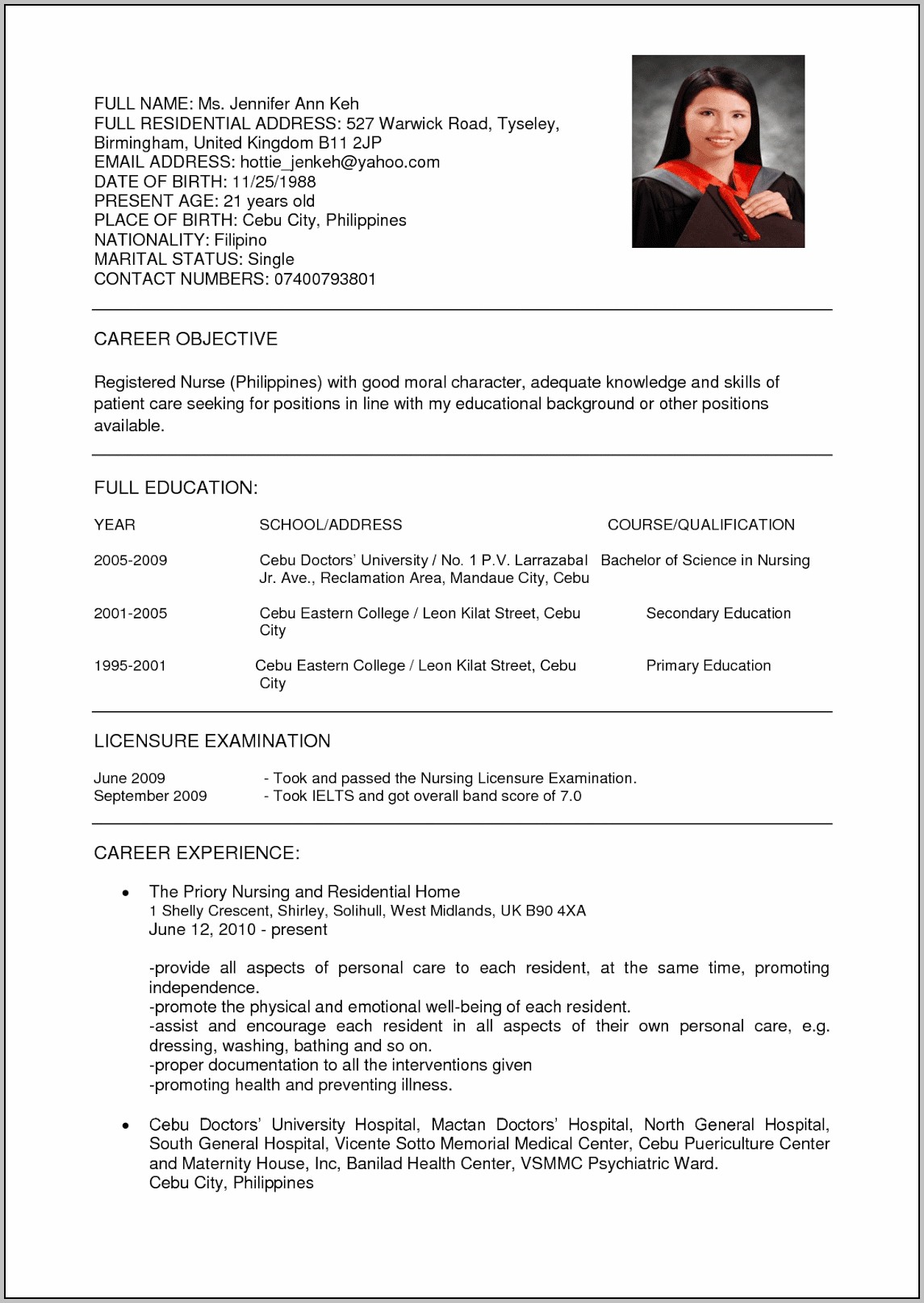 Resume For Nursing Job Sample