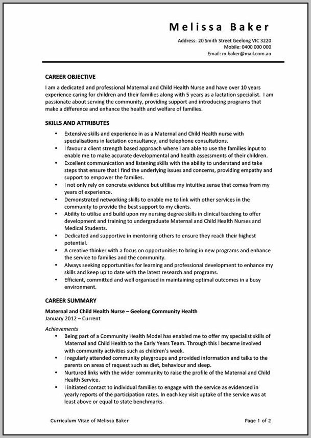 Resume For Rn Heals