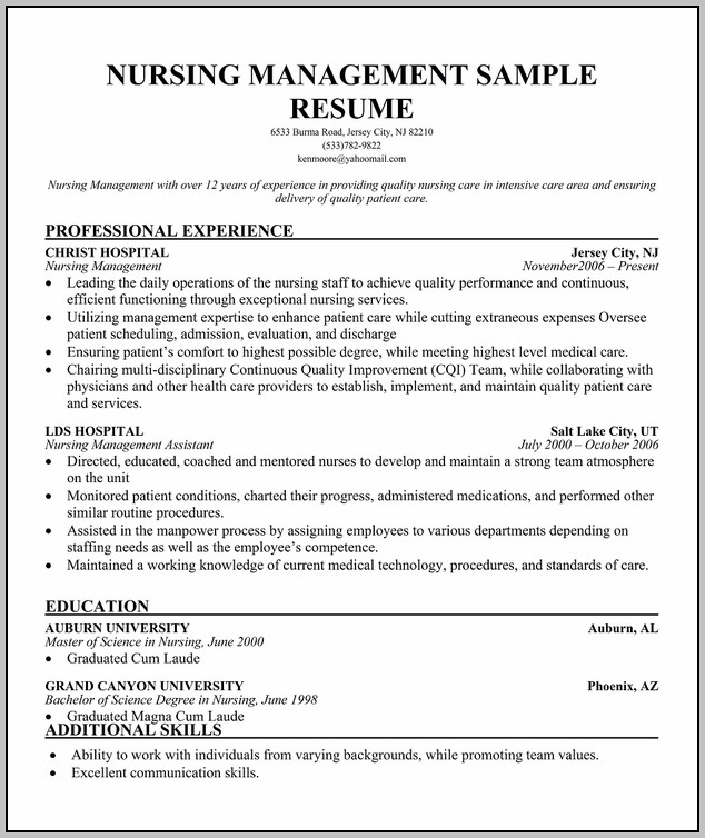 Resume For Rn Supervisor