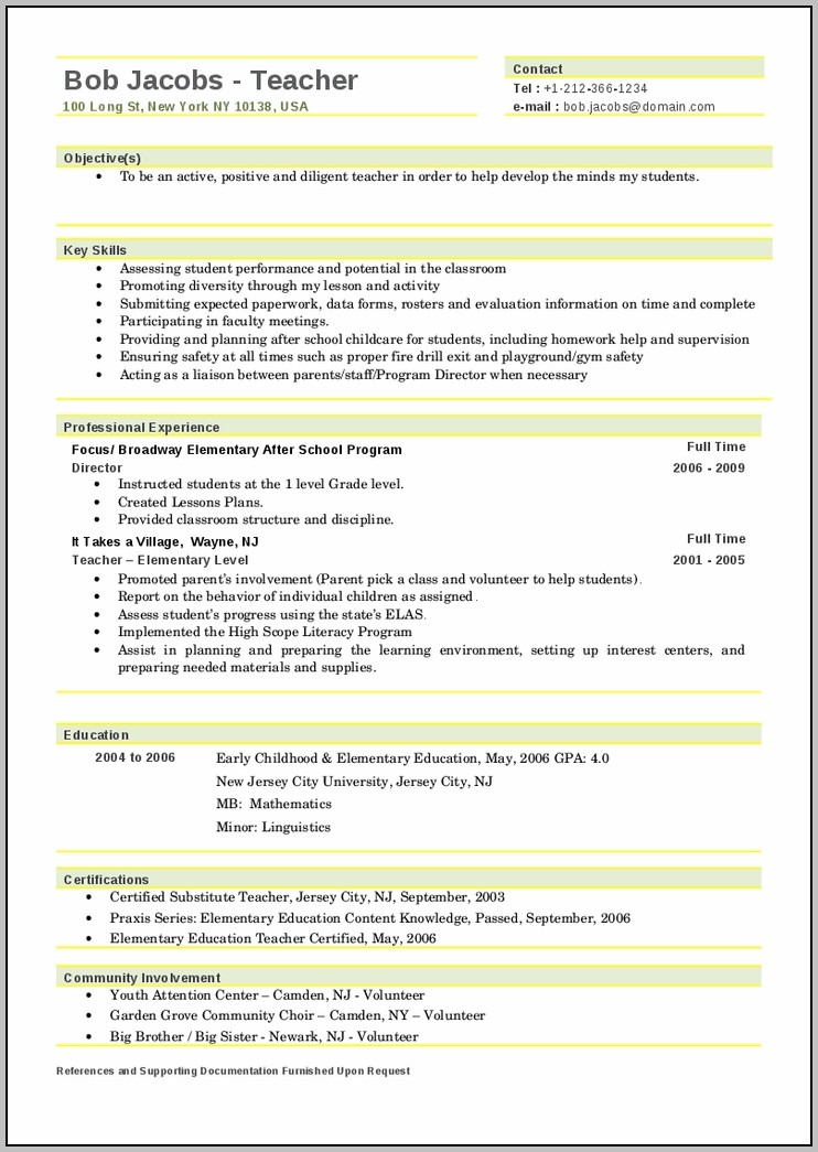 Teacher Resume Samples 2016 Experience Resumes Teacher Resume Template 2016