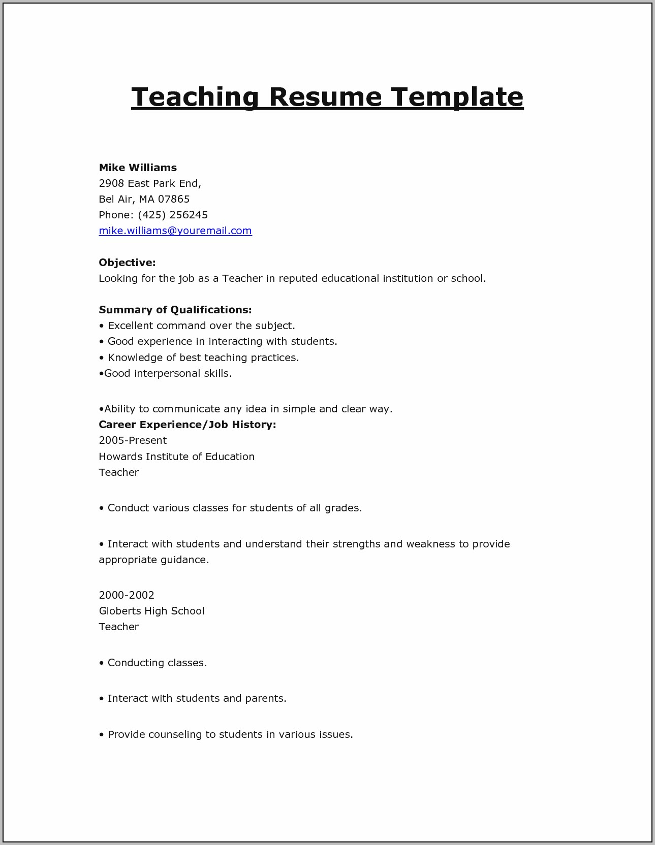 Resume For Teaching Jobs Templates