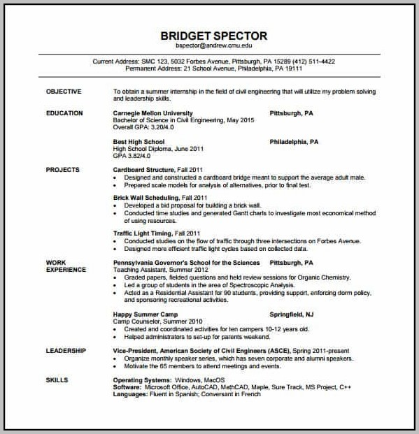 Resume Format Free Download For Freshers Engineers