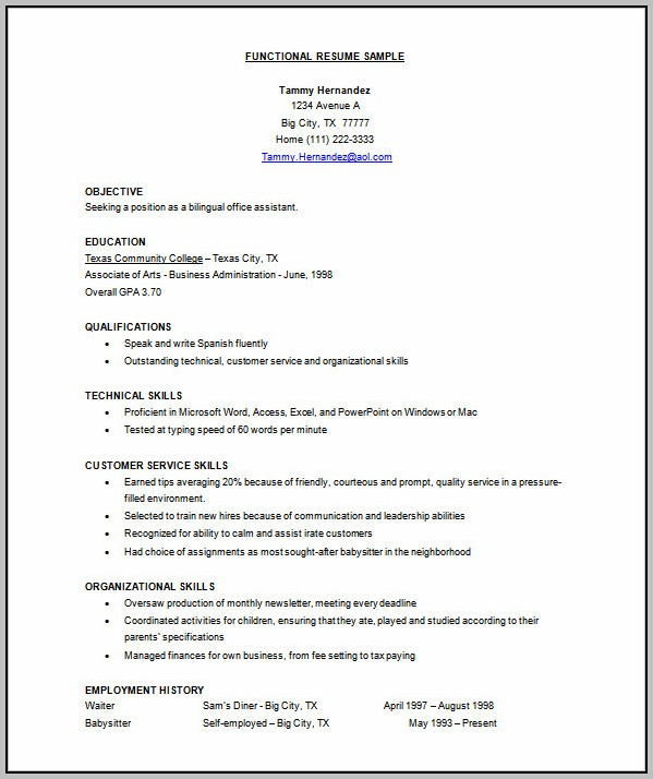 Resume Format Free Download In Doc