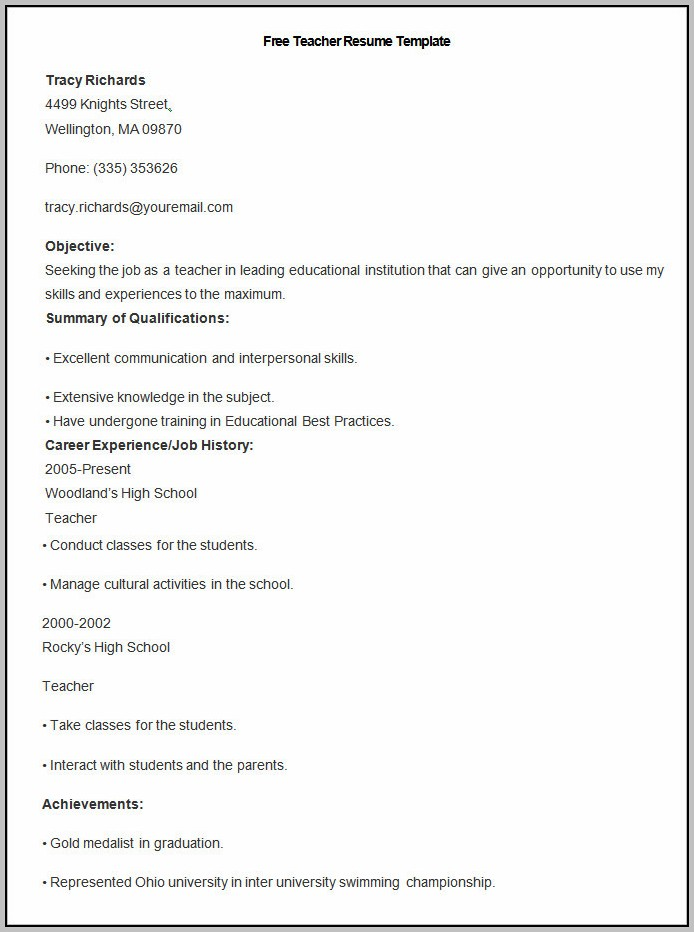 Resume Teacher Template Free