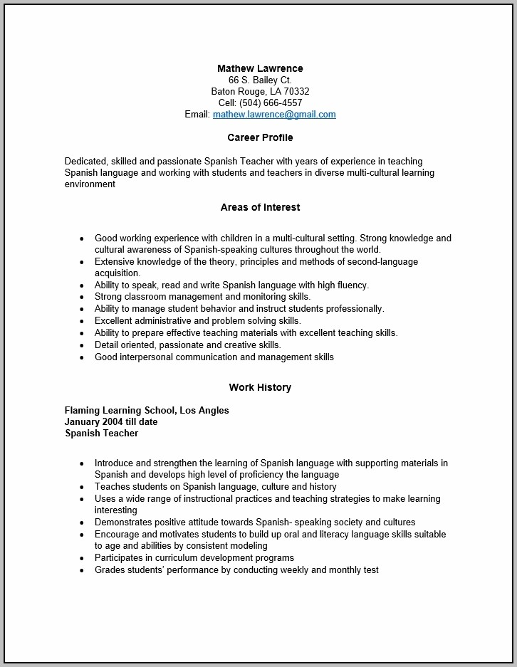 Free Spanish Teacher Resume Template Sample Ms Word