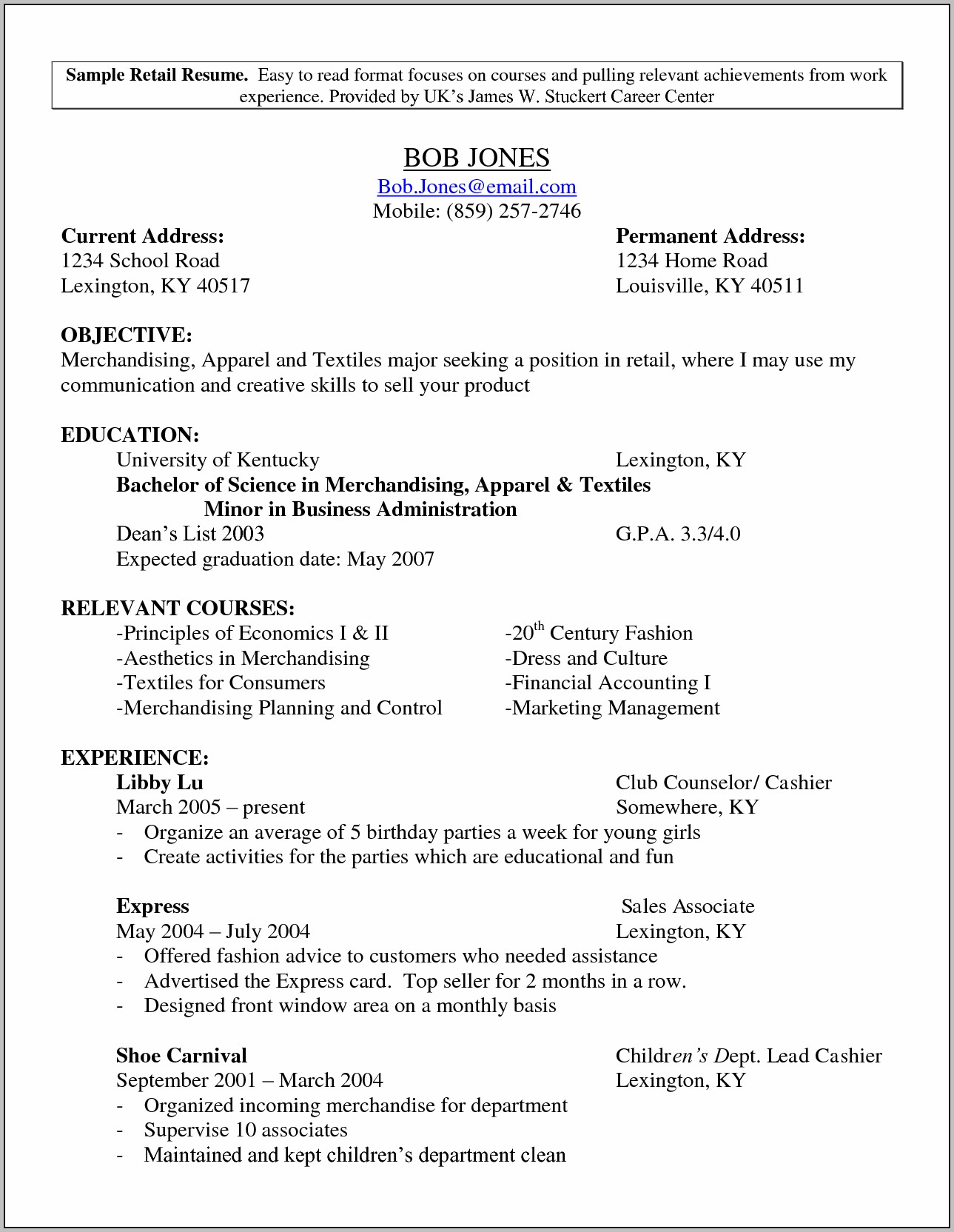 Resume Template For A Retail Job