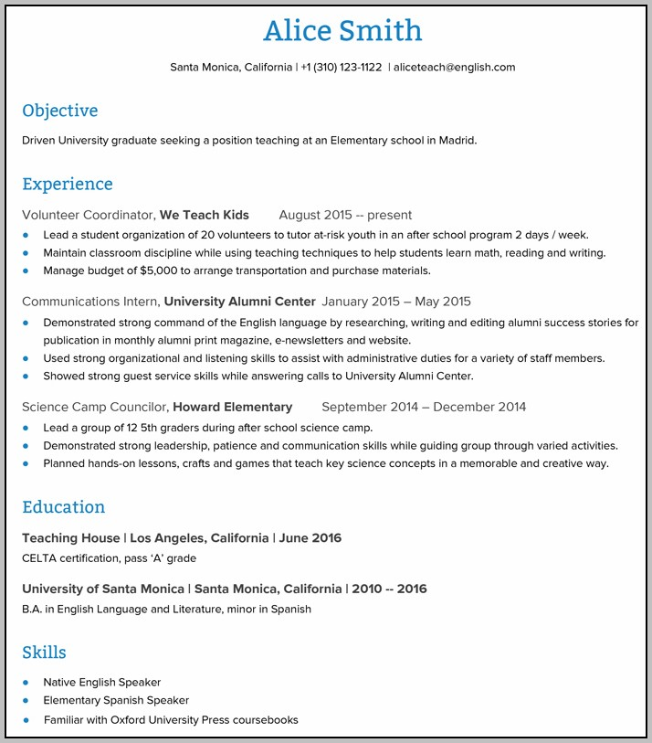 Resume Template For Teaching Abroad