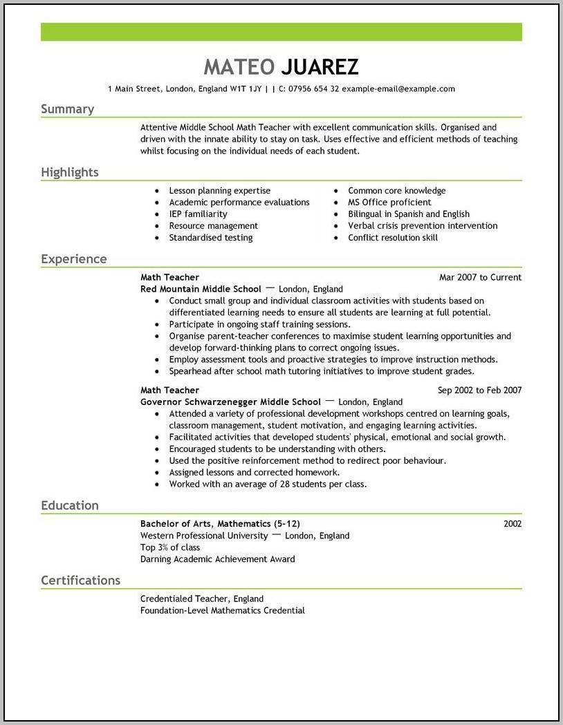 Resume Template Teacher Australia