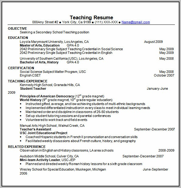 Resume Template Teacher Word
